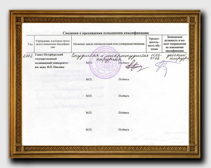 Диплом хирурга Чубарова Вячеслава Игоревича