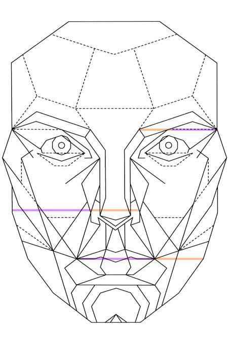 Маска для измерения пропорции мужского и женского лица